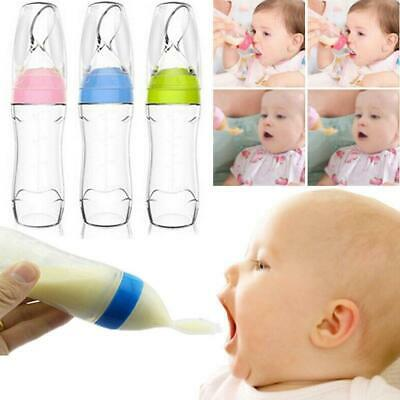 Safety Infant Baby Silicone Feeding With Spoon Feeder Food Rice Cereal Bottle