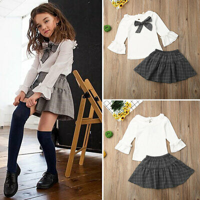 UK Toddler Kids Flare Long Sleeve Tops Plaid Skirt Baby Girls Dress Clothes 1-6Y