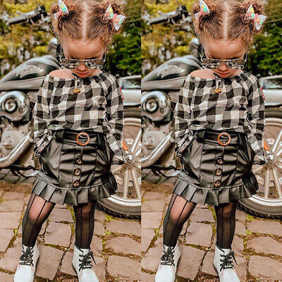2PCS Toddler Kid Baby Girl Autumn Clothes Chiffon Plaid Tops Mini Skirt Outfits