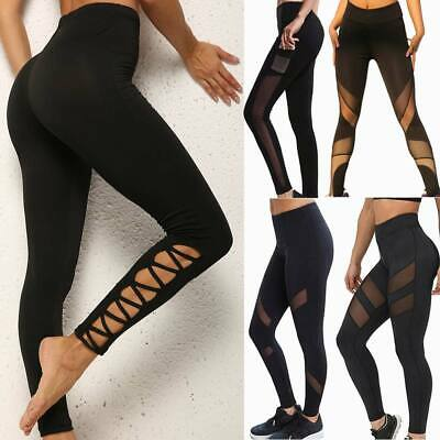 Women Yoga Pants High Waist Mesh Sports Leggings Gym Fitness Running Workout UK