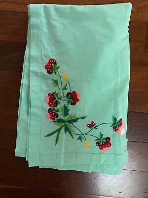 Vintage Mint Green Cotton Tablecloth Embroidered Strawberries Rectangle