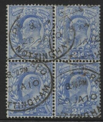 1902 21/2d PALE ULTRAMARINE KEVII CDS USED BLOCK OF FOUR . SG 231