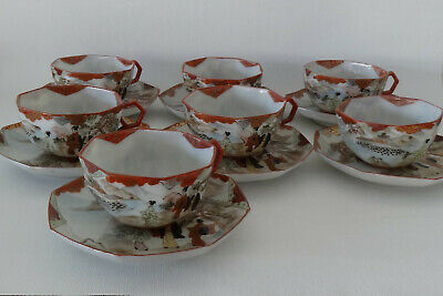 7 Japanese Octagonal Kutani Cups With Saucers, Early 20Th Century