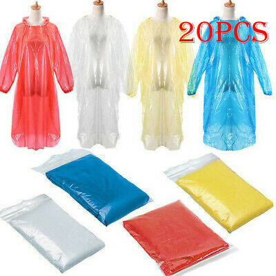 20PC Disposable Adult Emergency Waterproof Rain Coat Poncho Hiking Camping Hood