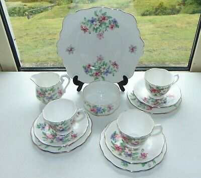 Royal Albert Bone China Floral 12 Pc Teaset Cups Saucers Plates Milk Sugar