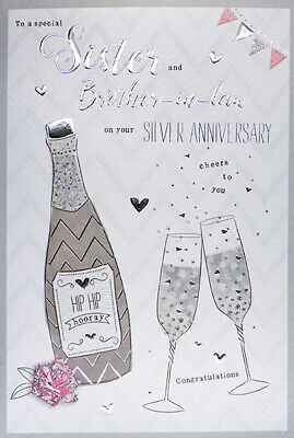 Sister & Brother in Law Silver 25th Wedding Anniversary Card