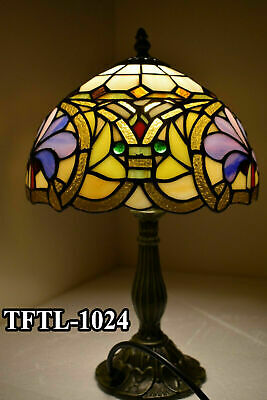 Antique Style TIFFANY Table Lamp Multi Colour Hand Crafted Bed/Living Room UK