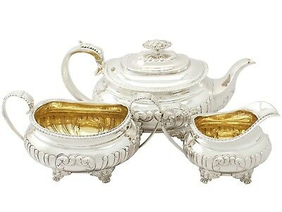 Antique George IV Sterling Silver Three Piece Tea Set Regency Style 1825