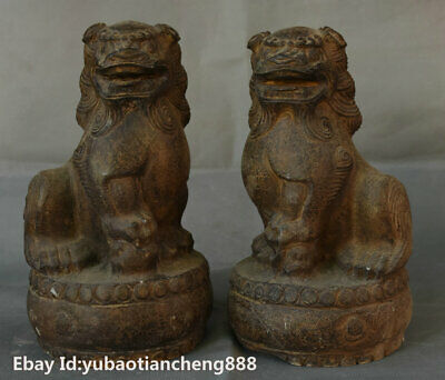 China Old Stone Hand carved Fengshui Foo Fu Dog Guardion Lion Beast Statue Pair