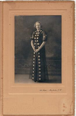 Woman in Striking, Fashionable Floral Dress Cabinet Photo Manchester NH