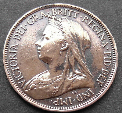 Unusual Genuine Victorian coin - engraving on the reverse.