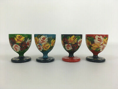 4 Colourful Wooden Hand Painted Egg Cups Barge Art Floral Design Kitchen Decor