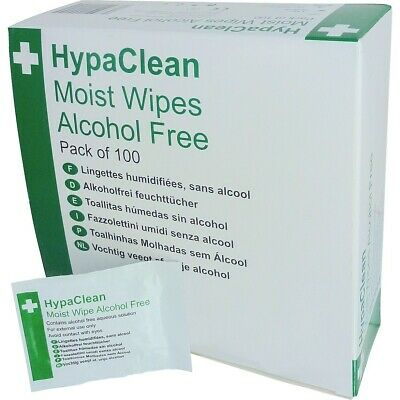 Safety First Aid HypaClean Alcohol Free Moist Skin Cleansing Wipes - Pack 100
