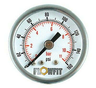 40mm Pressure Gauge Rear Entry 0 - 100 PSI AIR AND OIL