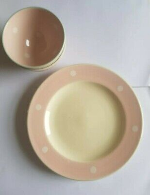 Susie watson pottery 4 pieces. 2 bowls, 2 dinner plates