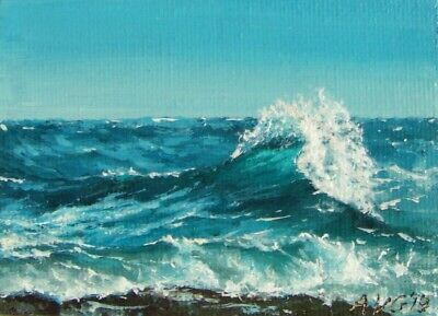 ACEO Original Miniature Seascape Painting of Ocean Waves Near Beach