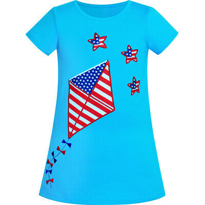 Girls Casual Dress Cotton Kite Embroidered American Flag Age 2-6 Years
