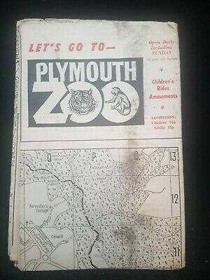 Antique Map Of Plymouth Devon England Advertising Plymouth Zoo No Longer There