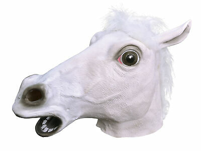 CAVALLO Bianco Gomma Mask Fancy Dress Costume VESTITO DI SCENA