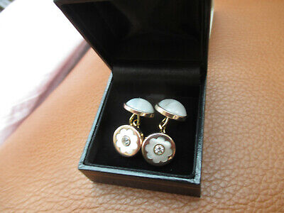 Victorian Antique Rose Gold & Mother of Pearl & Diamond? Clear Stone Cufflinks