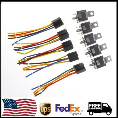 Car SPDT Automotive Relay 5 Pin 5 Wires w/Harness Socket DC 12V 30/40 Amp US