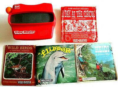 View Master Viewer + 12 Bild Scheiben / Heidi / Flipper / Zirkus / Vögel / Kids