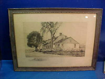 Early 20thc CORTELYOU HOUSE BROOKLYN Framed ENGRAVING Artist SIGNED