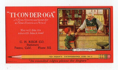 """TICONDEROGA PENCILS Ink Blotter - 3⅜""""x6¼"""", """"His First Pencil"""" by NORMAN ROCKWELL"""