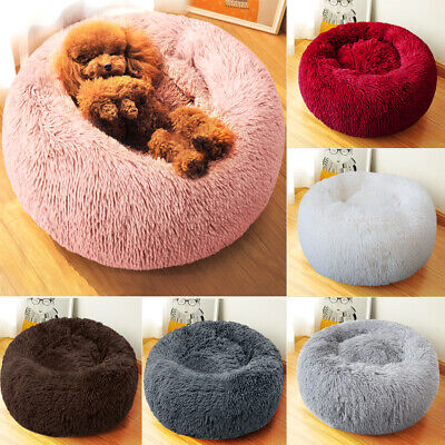 Pet Puppy Dog Cat Calming Bed Warm Comfy Plush Round Nest Sleeping Kennel Cave