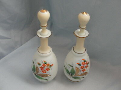Antique Pair of Hand-Painted Hand-Blown Satin Glass Barber or Perfume Bottles
