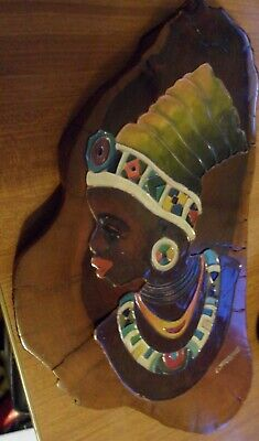African Wood Carving ZULU SOUTH. AFRICA,WILD OLILE WOOD ENAMEL COPPER SIGNED