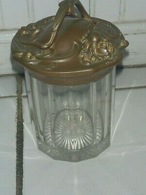 Antique Pressed Glass Art Nouveau Tobacco Jar/Humidor With Brass Lid - Floral