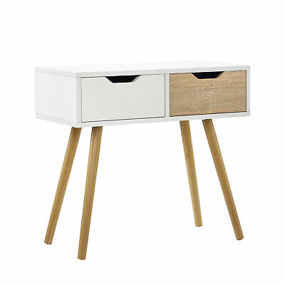 En Casa Table De Console Blanc Chene Table D Appoint Table Murale Buffet