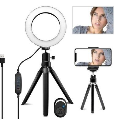 """LED Ring Light, 5.7"""" Dimmable Desk Makeup Ring Light with Tripod Stand"""