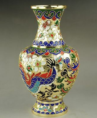 Chinese Collectible Handmade Cloisonne Large Dragon Vase Color Flowers d01