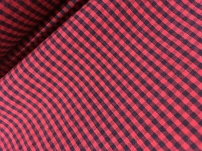 Red And Black Plaid Cotton Fabric- Sold By The Meter