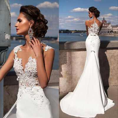 Women Lace White Wedding Dress V Neck Beach Gown A-line Bridal Prom Evening Sexy