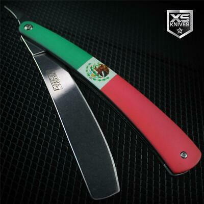 MEXICAN FLAG Metal Barber STRAIGHT RAZOR Cut Throat Knife Shaving Rasoi Mexico