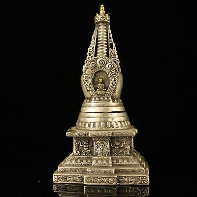 chinese old Copper plating silver hand-made gold drawing pagoda statue e02E