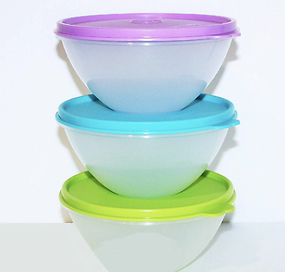 Tupperware Clear Wonderlier 2 cup Bowls Set of 3 Green Aqua Purple Seals New