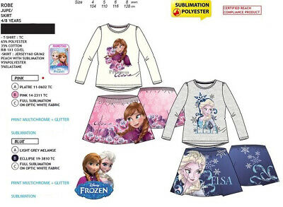 Disney Frozen Anna And Elsa Kids Girls 2 Piece Set Long Sleeve Top Skirt 4Y - 8Y
