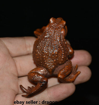 """3"""" Old China Boxwood Wood Hand Carved common pond frog Animal Statue Sculpture"""
