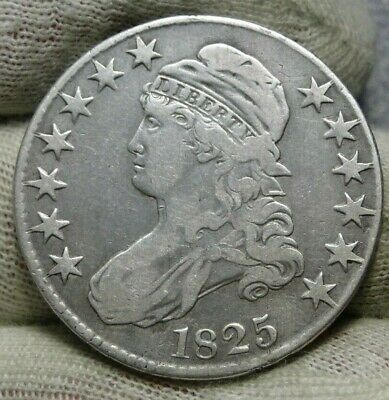 1825 Capped Bust Half Dollar 50 Cents - Nice Coin Free Shipping (8627)