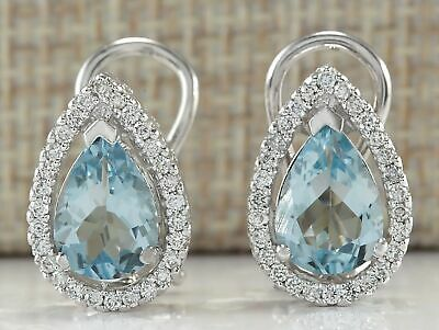 18K White Gold Aquamarine Hollow Waterdrop Lady Dangle Cocktail Earrings Gifts