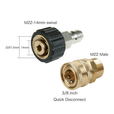 1 Set High Pressure Washer Adapter Set 5000PSI M22 14mm Swivel Quick Connect Kit