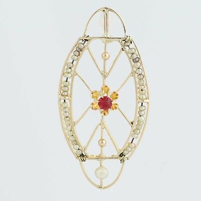 Edwardian Red Glass & Seed Pearl Pendant - 10k Yellow Gold Vintage