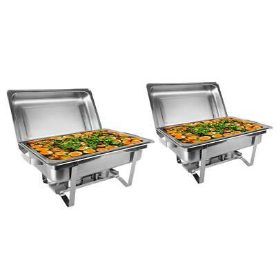 2 PACK CATERING STAINLESS STEEL CHAFER CHAFING DISH SETS 8QT 9L Restaurant Party
