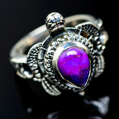Purple Copper Turquoise 925 Sterling Silver Ring Size 7.75 Jewelry R956180