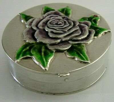BEAUTIFUL SOLID STERLING SILVER AND ENAMELLED ROSE BOX c1950s
