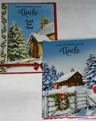 UNCLE CHRISTMAS CARDS X 12, JUST 29p,SRP £1.39, 2 DESIGNS x 6 WRAPPED (B707